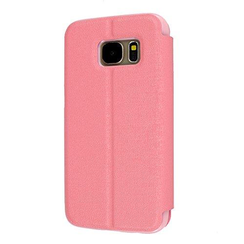 Galaxy S7 Funda Libro Suave PU Leather Cuero, Asnlove Tapa Color Sólido Carcasa PU Leather Con TPU Silicona Soporte Plegable Ventanas Flip Case Cover para Samsung Galaxy S7 G9300 Rosa