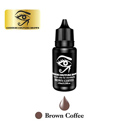 Goddess Couture Brows 10 ml Microblading Eyebrow Pigment, Organic Medical-Grade and Semi-Permanent Makeup Tattoo Ink (Brown Coffee) -