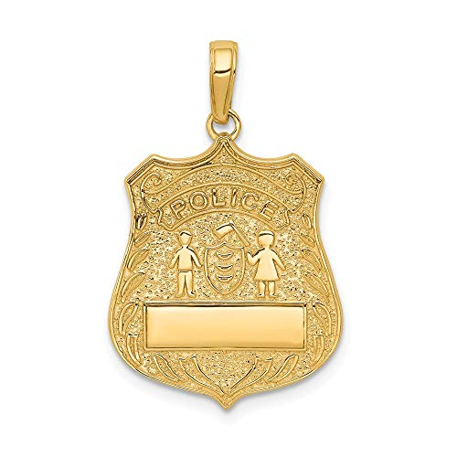 - Jewel Tie 14K Yellow Gold Large Police Badge Pendant - (1.08 in x 0.67 in)