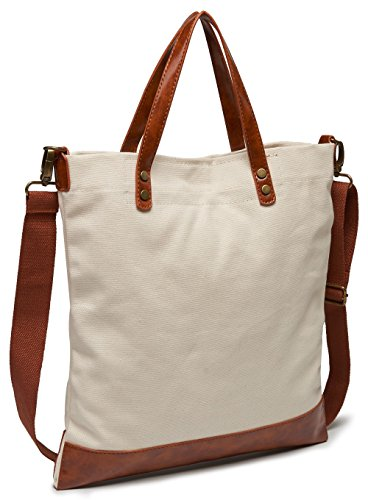 Leotruny Women's Utility College Canvas with Leather Crossbody Tote Bag (White)