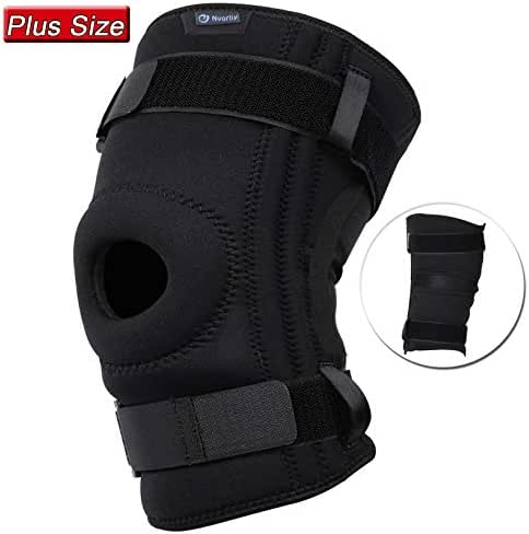 Nvorliy Knee Sleeve Plus Size for Large Leg - Detachable Strap Design, Open-Patella Stabilizer Brace for Arthritis, Tendon, Meniscus and Ligament Injuries, Patellar Tendonitis, Fit Men & Women (6XL)