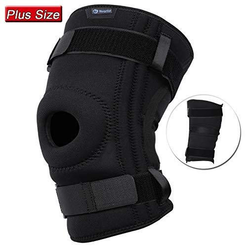 Nvorliy Knee Sleeve Plus Size for Large Leg – Detachable Strap Design, Open-Patella Stabilizer Brace for Arthritis, Tendon, Meniscus and Ligament Injuries, Patellar Tendonitis, Fit Men & Women (5XL)