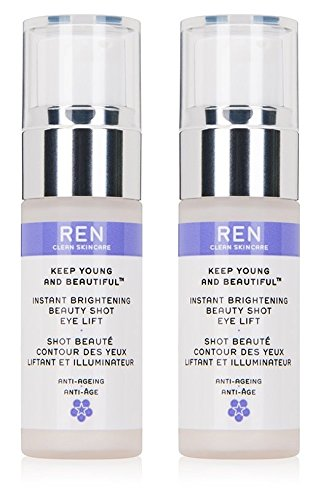 Ren Keep Young and Beautiful Instant Brightening Beauty Shot Eye Lift (Pack of 2) Silica, Pullulan, Mica, Rosa Damascena Flower Oil, Citronellol, Sodium Hyaluronate and Geraniol, 0.5 fl. oz. each