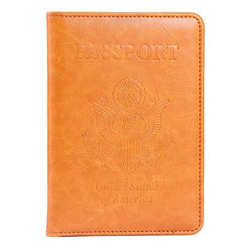 Passport Holder, RFID Blocking Leather Passport Holder Cover Case Travel Wallet(Yellow)