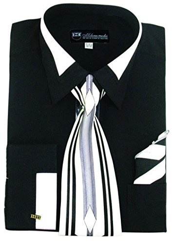 (Milano Moda High Fashion Dress Shirt with Contrast Design Tie, Hankie & Cuffs Black-19-19 1/2-36-37)