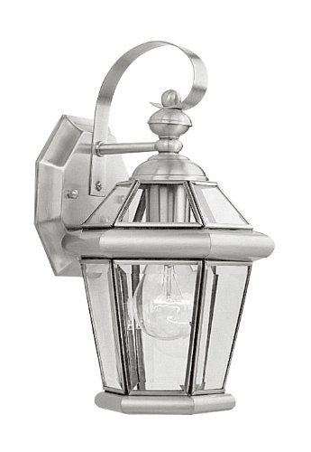 Georgetown Exterior Wall - Livex Lighting 2061-91 Outdoor Wall Lantern with Clear Flat Glass Shades, Brushed Nickel