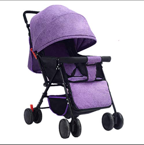 Lightweight Stroller Can Sit Reclining Portable 175 Degree Folding Umbrella Trolley Baby Car Fabric Removable Washable,Purple