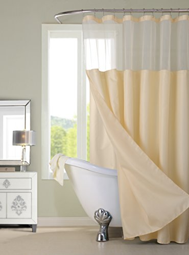 Dainty Home CSCDLIV Waffle Shower Curtain Complete Shower Curtain,Ivory