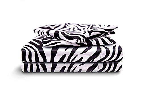 HONEYMOON HOME FASHIONS Queen Sheet Set Luxury Silkily Like Satin Bed Sheets, - Print Zebra Silk