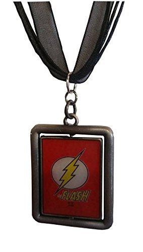 [The Flash DC Comics Reversible Pendant on a Black Ribbon Choker] (Homemade Comic Costumes)