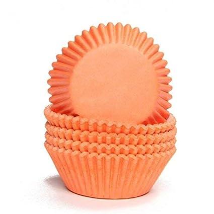 Moldes de papel de horno para magdalenas o cupcakes Orange - 75 Stück