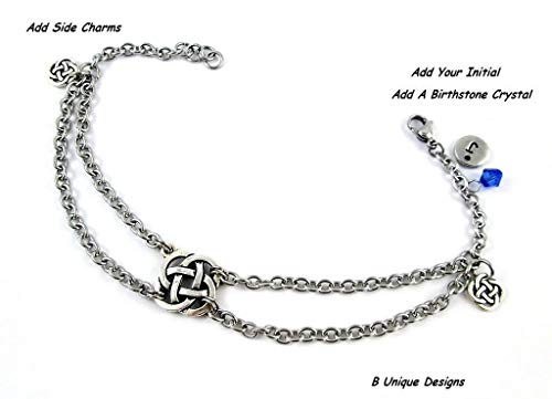 Celtic Endless Knot Silver Charms Anklet Stainless Steel Chain Mail Personalized Jewelry Add Initial or Birthstone Mom Wife Sister Gift