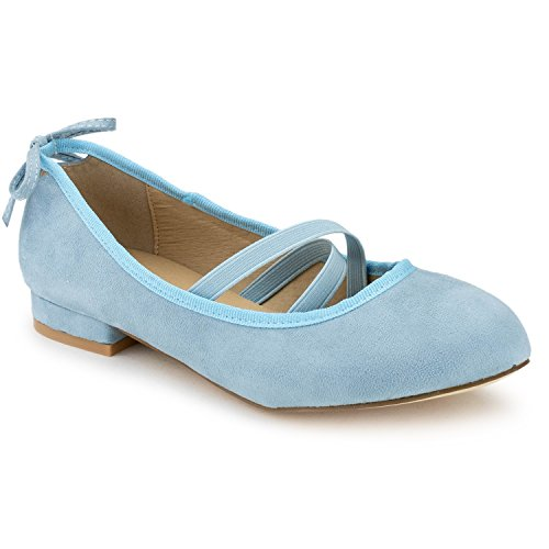 RF ROOM OF FASHION Mary Jane Ballet Flats - Stylish and Comfortable Ballerina Style Flat Shoes - Women's Mary Janes with a Low Heel and Bow Back Straps - Dress up Down - Slip-on ICE Blue (5.5)