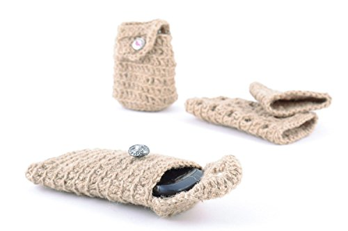 Unusual Handmade Gray Phone Case Crochet Of Twine