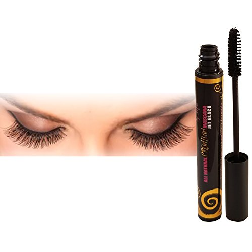 Luxury By Sofia Organic Eyelash Mascara With Sunflower & Chamomile Oils - All Natural & Non Flake Formula - Thicken, Nourish, Lengthen, Strengthen, Moisturize & Volumize (Black)