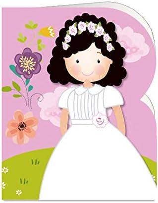 Paq. 90 Etiquetas Comunión Troqueladas Niña Rosa flores: Amazon.es: Oficina y papelería