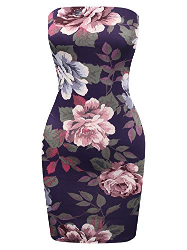 - BEYONDFAB Women's Tube Cotton Fitted Mini Dress Plum Flower Print M