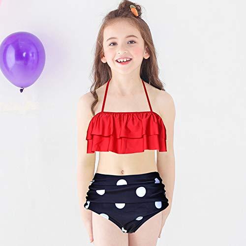 49f55077eb Amazon.com  2 Pcs Daughter and Mom Family Matching Bikini Swimsuit Ruffle  Halter High Waist Bathing Suit Little Girls Swimwear Set  Clothing