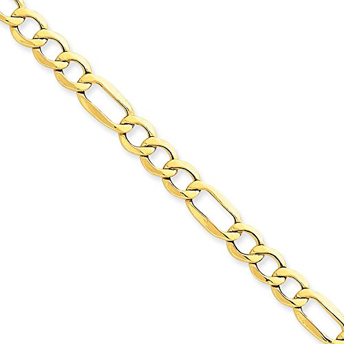 (14kt Yellow Gold 6.25mm Semi-Solid Figaro Chain Bracelet; 8 inch)