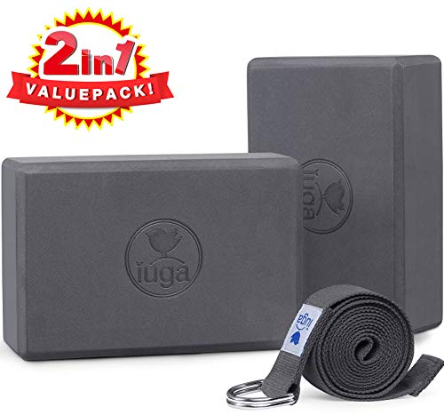 "IUGA Yoga Block (2PC) 9""x6""x3"" with Metal D-Ring Yoga Strap, High Density Yoga Brick to Improve Strength, Flexibility and Balance, Light Weight and Non-Slip Surface for Yoga, Pilates and Meditation"