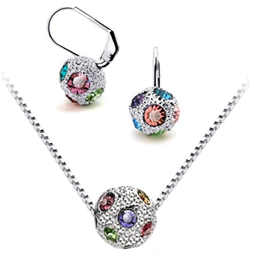 Girls Harmony Disco Costumes (Silver-Tone Multi Color Rhinestone Pave Fireball Necklace and Earrings Jewelry Set,J002-3)