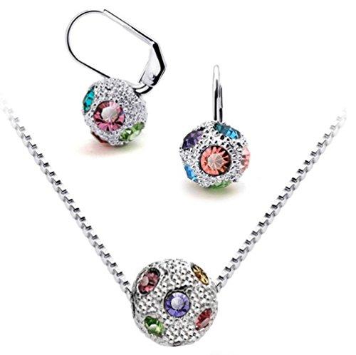 Silver-tone Multi Color Rhinestone Pave bola de fuego collar y pendientes joyería Set, J002–3