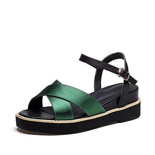 ZPPZZP Ms sandali spessa relax Coreano-style traspirante fondo piatto pendenza Green 36EU