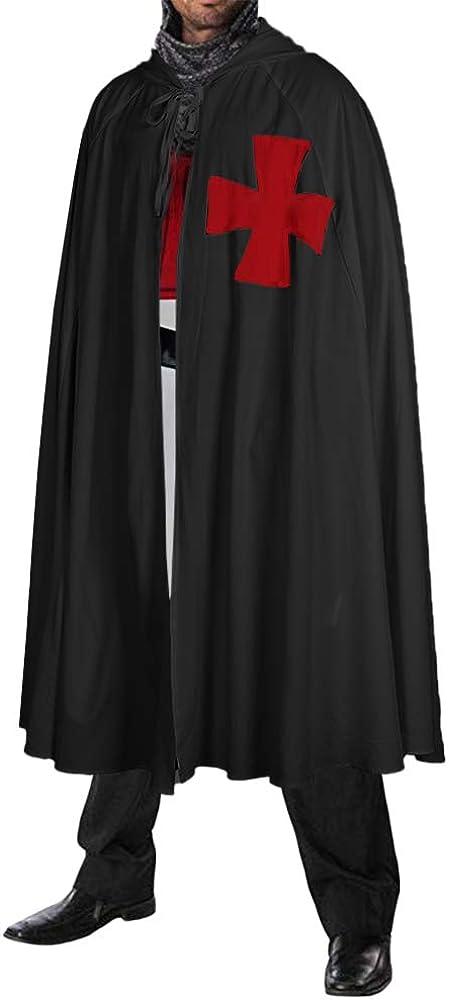 Mens Medieval Crusader Costume Knight Templar Hooded Cloak Red Cross Print Cosplay Robes