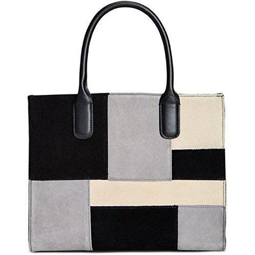 Giani Bernini Womens Suede Patchwork Tote Handbag Black Large Bernini Womens Handbag