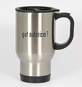 got naturism? - 14oz Silver Travel Mug