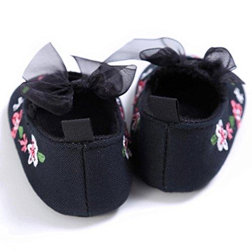 Zapatos bebe, Culater Patucos Flor Recién Nacido Suela Suave 0~18 meses Negro