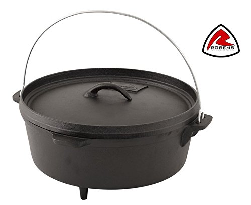 6 Litre Pre Seasoned Cast Iron Dutch Oven Bushcraft Cooking Pot for Camp Fire & Fire Pit Outdoor/BBQ Cooking by Robens CARSON