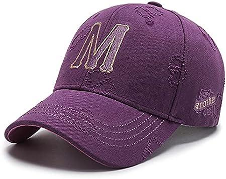 H/A GUOHUU Hombres Populares Hombres Hombres Mujeres Gorra de béisbol M Letra Bordado KPOP Deportes Sombrero Sol Sombreros Sombreros Fashion Street Dance GUOHUU (Color : Purple, tamaño : Talla única)