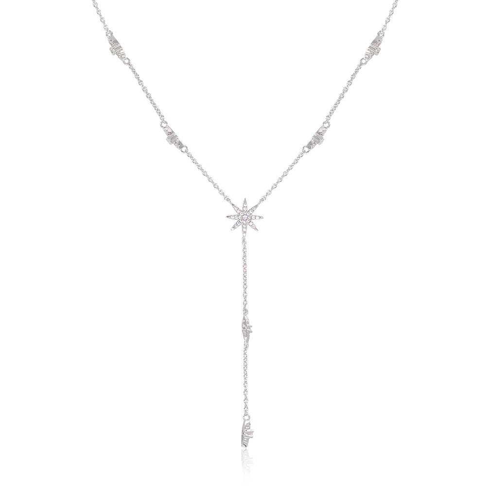 espere Star Drop Y Shaped Lariat Necklace Plated with White Gold by espere