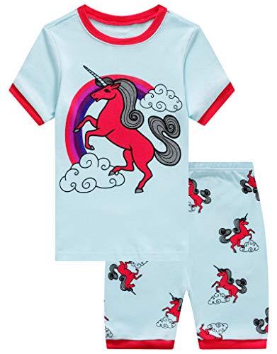 Family Feeling Big Girls Unicorn Summer Pajamas Short Sets 100% Cotton Sleepwear 10 ()