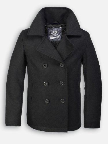 Brandit Wool Mix Naval Anchor Buttons Pea Coat Black