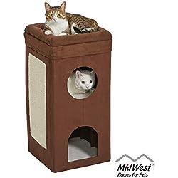MidWest Curious Cat Cube, casa de gatos/condominio de gatos, Brown Double Story, Mediano