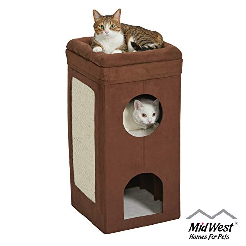 MidWest Homes for Pets Cat Condo   Tri-Level Design in Brown Faux Suede & Synthetic Sheepskin   14.6L x 14.72W x 30.39H Inches