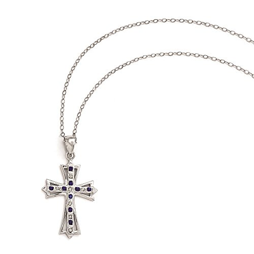 925 Sterling Silver Rhodium Plated Diamond & Sapphire Cross Pendant Necklace 18