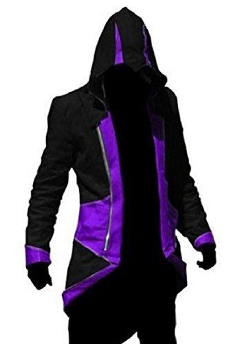 TEENTAGE Assassin's Creed 3 Connor Kenway Hoodie Jacket,Black and Purple,Kid-Large (Assassin Costume Design)