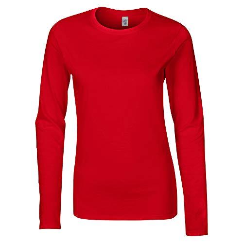 T shirt Gildan Femme À Manches Rouge Longues w0Td7qaT