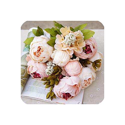 1Bunch European Artificial Peony Decorative Party Silk Fake Flowers Peonies for Home Hotel Decor DIY Wedding Decoration Wreath,A]()