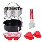 PNAVI Instant Pot Accessories Set for 5, 6, 8Qt Instant Pot Pressure Cooker, 6-Pcs with Steamer Basket/Non-stick Springform Pan/Egg Bites Mold/Egg Steamer Rack/Silicone Cooking Pot Mitts/Kitchen