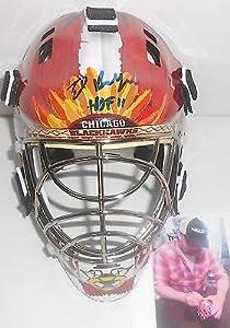 Eddie Ed Belfour Chicago Blackhawks Signed Mini Goalie Mask Helmet HOF 11 A1