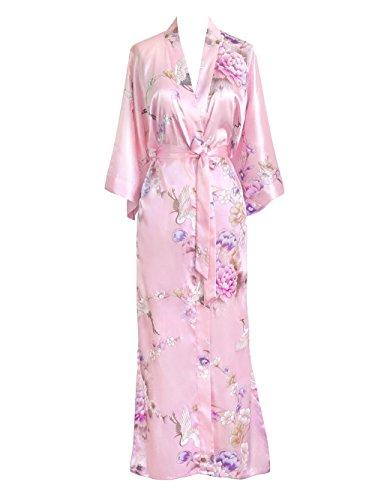 Old Shanghai Women's Kimono Long Robe - Chrysanthemum & Crane (Light Pink)