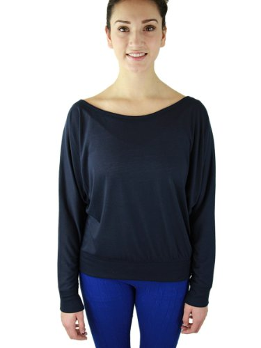 YogaColors Crystal Sheer Jersey Boatneck Pullover Long Sleeve Dolman Top (Large, Navy)