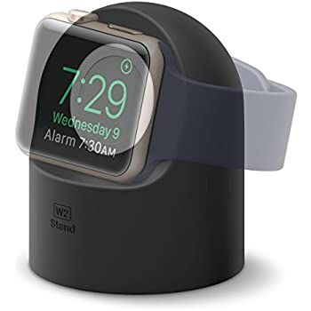 elago W2 Stand [Black] - [Supports Nightstand Mode][Cable Management][Scratch-Free Silicone] - for Apple Watch Series 1, 2, and 3