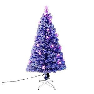 HomCom 5' Tall Artificial Fiber Optic LED Pre-Lit Holiday Christmas Tree - White 102