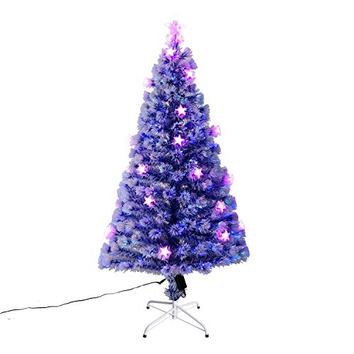 White Fibre Optic Christmas Tree With Blue Led Lights in US - 2