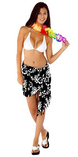 1 World Sarongs Womens Hibiscus Floral Half Sarong Hula Dance Black and White ()
